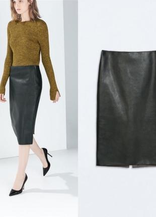 Фирменная кожаная юбка миди zara, размер s