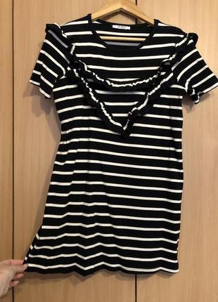Zara платье летнее в полоску чёрное белое прямое зара широкое короткое мини тянется