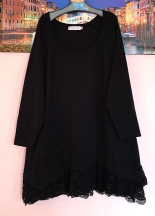 Шикарное платье с кружевом и карманами , натуральная туника
