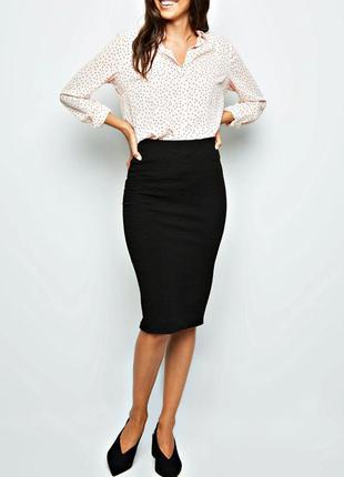 Удобная черная юбка-карандаш, демисезон р.16