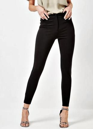 Удобные черные треггинсы, брюки скинни из эластичной ткани р.18