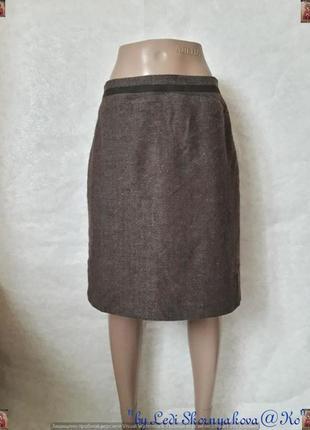 """Новая фирменная шерстянная юбка миди в принт """"ёлочка"""" с замшевой вставкой, размер л-ка"""
