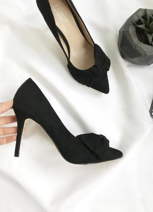 Новые черные туфли лодочки с бантом на шпильке классические классические текстильные