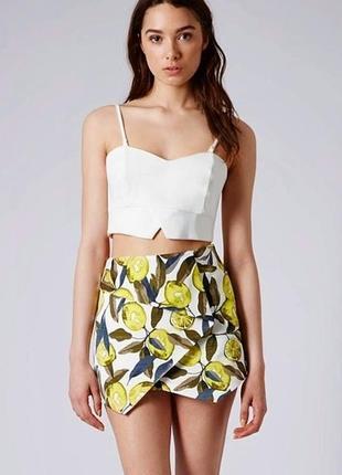 Лимонные шорты-юбка с высокой посадкой