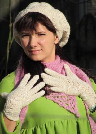 Перчатки вязанные с паетками