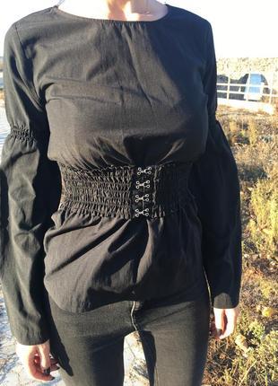 Черная блуза с резинкой на талии от primark