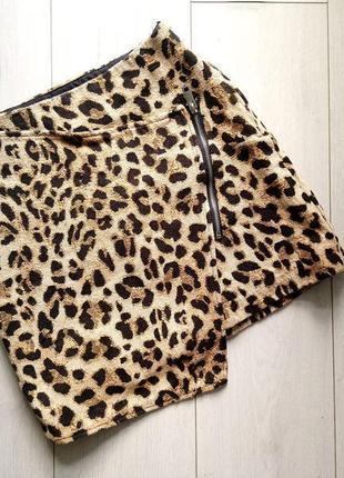 Плотная юбка в леопардовый принт h&m