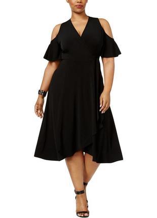 """Нарядное платье v-вырез """"на запах"""" с короткими рукавами и вырезами по плечам,на 50-52 рр"""