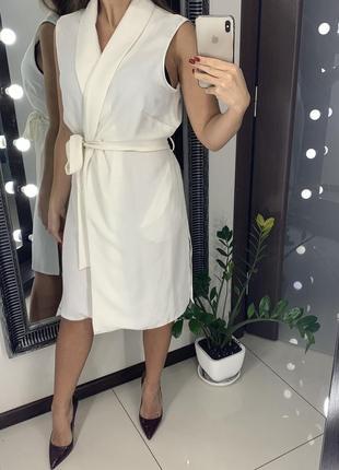 👗стильное белое платье на запах/белое платье-рубашка с поясом/платье миди с карманами👗