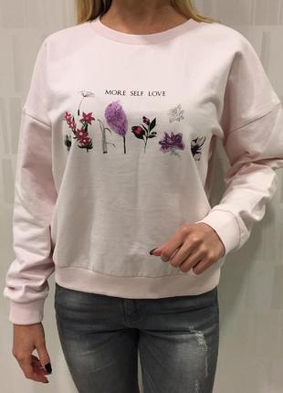 Свитшот с цветочным принтом кофта без начёса. house. размер s.