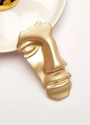Шикарная стильная большая брошь лицо маска