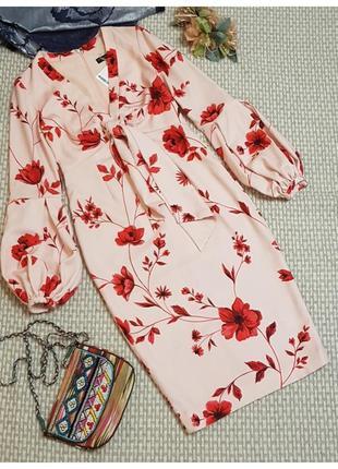 Платье футляр с пышным рукавом, цветочный принт myleene klass