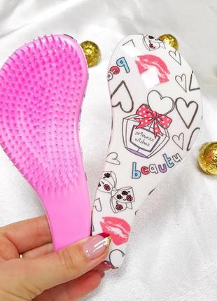 Расческа для распутывания волос с принтом сердечки (маленькая) к.16048_2