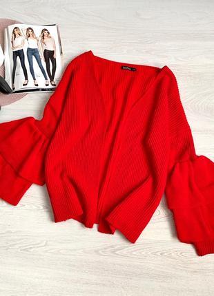 Красивый кардиган красный с рукавами воланом
