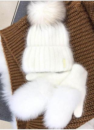 Комплект шапка +меховые варежки
