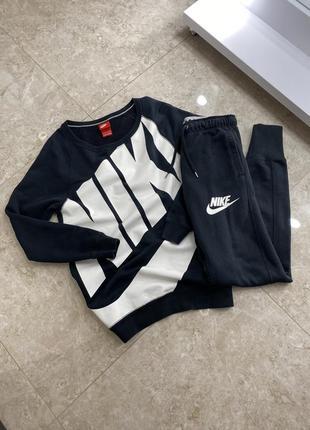 Спортивный костюм найк nike xs s женский чёрный свитшот штаны кофта