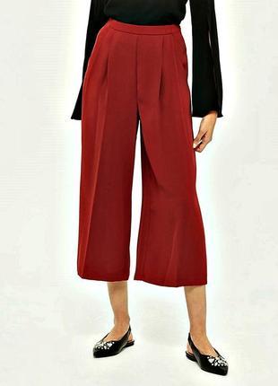 Высокие терракотовые брюки-кюлоты из качественной креп ткани р.16