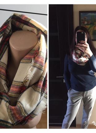 Французский бренд! aldo! тёплый шарф, хомут в актуальную клетку