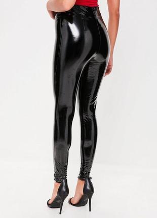 Виниловые лосины лаковые брюки латексные лосины чёрные лосины кожаные леггинсы
