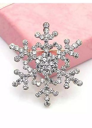 Шикарная сверкающая брошь снежинка подарок на новый год