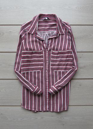 Акция до нового года! рубашка в полоску с закатывающимися рукавами от next