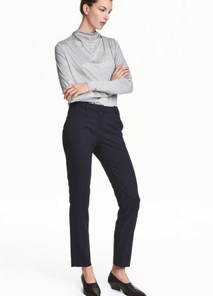 Брюки штаны классика зауженные укороченные темно синие h&m