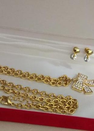 Кулон и цепочка в золотом тоне, элитная бижутерия итальянского бренда bijoux terner