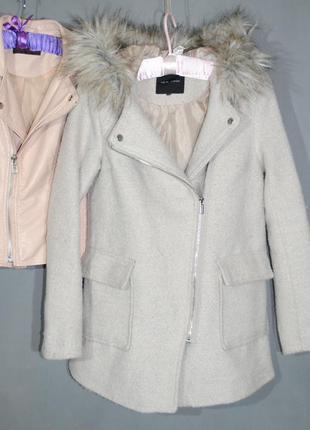 Бежевое пальто с капюшоном new look размер uk10 (s) пальто-косуха