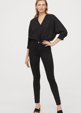 Джинсы брюки джинси скинни на высокой талии черные новые h&m
