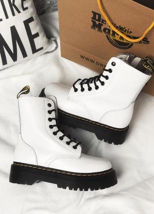 Dr martens jadon white fur женские зимние ботинки мартинс чёрные с мехом