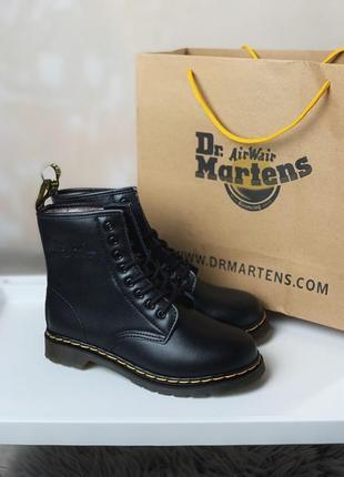 Dr martens black 1460 женские зимние ботинки мартинс чёрные с мехом