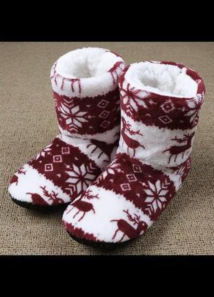 Тапочки/тапки/зимние с оленями/тёплые/рождественские тапочки
