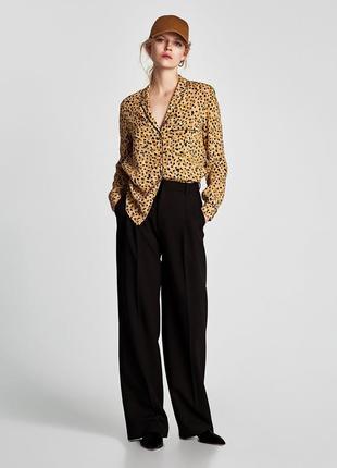 Блузка, рубашка в пижамном стиле в леопардовый принт zara