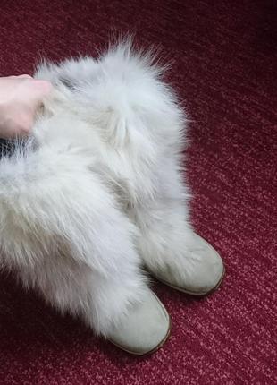 Зима будет холодной) классные и мега теплые унты/угги, песец овчина, стелька 24,5