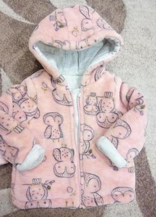Тёплая кофта на девочку 3—9 месяцев