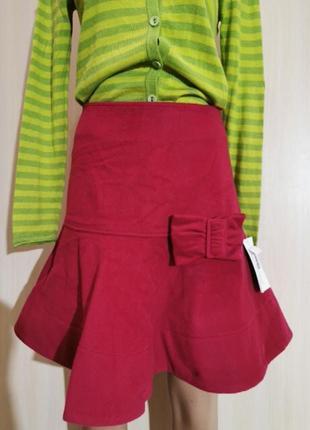 Шерстяная зимняя юбка фуксия бельгия