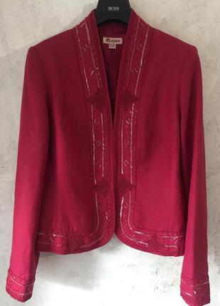 Роскошный, нарядный пиджак, жакет, вышивка, бисер, пайетки, шёлк +лен