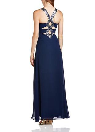 Вечернее платье синее длинное в пол фирменное с разрезом на ноге с пайетками lipsy