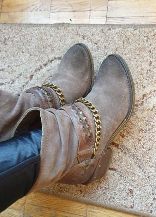Стильные ботинки боты ботильоны деми замш