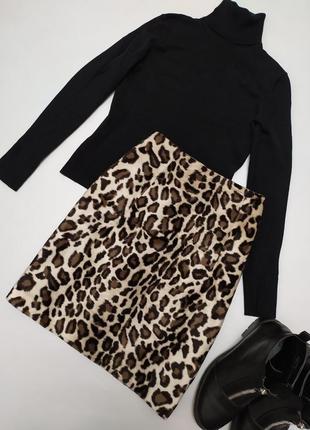Обалденная фирменная юбка в трендовый леопардовый принт франция