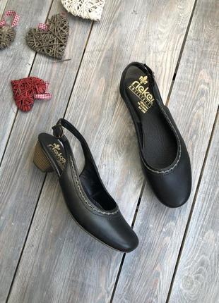 Rieker кожаные закрытые босоножки на каблучке туфли