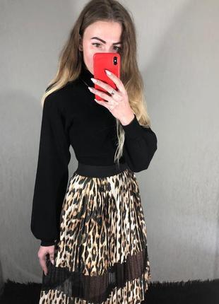 🌿 актуальная миди юбка плиссе с леопардовым принтом от river island
