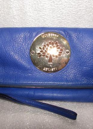 Стильный синий кожаный клатч ~ mulberry~