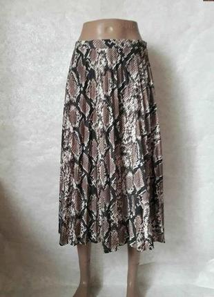 Фирменная f&f шикарная юбка миди плиссе в красивый змеиный принт, размер с-м