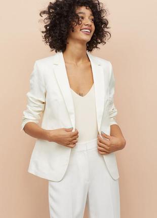 Блейзер пиджак жакет удлиненный без застежек жемчужный h&m