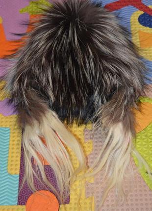 Шапка парик из чернобурки идеальное состояние!