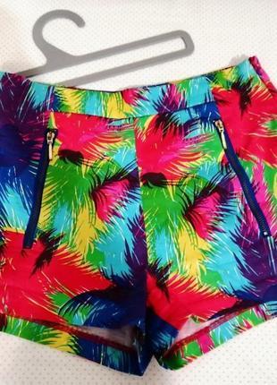 Zara кислотные шорты с высокой посадкой