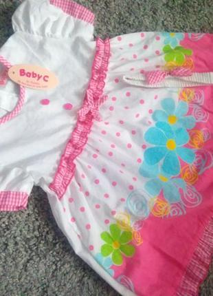 Якісне  платтячко + пов'язка з бантиком /милое  детское  платье