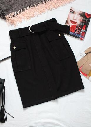 Черная миди юбка юбка карандаш 36 размер h&m юбка с молнией