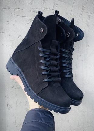 Качественные женские кожаные зимние ботинки